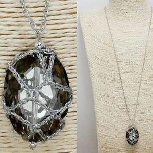 "BLACK DIAMOND LONG SILVER NECKLACE (30"")"